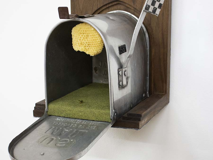 Kara Savant's artwork, It Takes a Village (2019), is an open mailbox on a wooden church-like background with a yellow waxy yellow jacket nest attached to the ceiling of the mailbox, green felt lining the bottom with a fake yellow jacket sitting on it, and a checkered flag up, indicating mail ready to be taken.