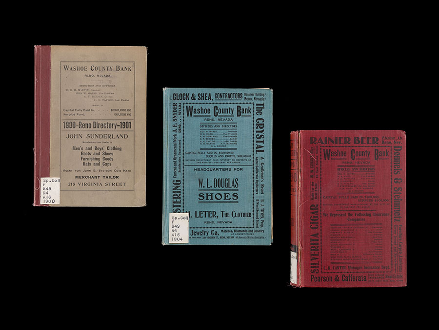 An image of three city directories for years 1900, 1904, and 1906. The covers of the directories contain various local business advertisements.