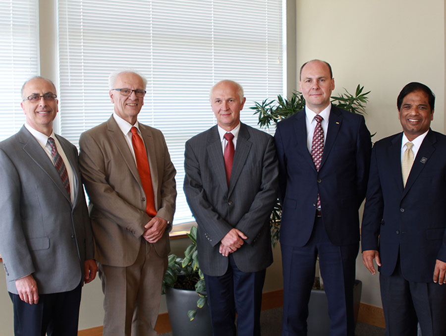 From left to right: Ahmad Itani, associate vice president for research; Manos Maragakis, dean of the College of Engineering; Janusz Karwot, president of Rybnik Water Company; Jan Bondaruk, deputy director of Central Mining Institute; and Krishna Pagilla, director of the Nevada Water Innovation Institute, chair and professor of environmental engineering.