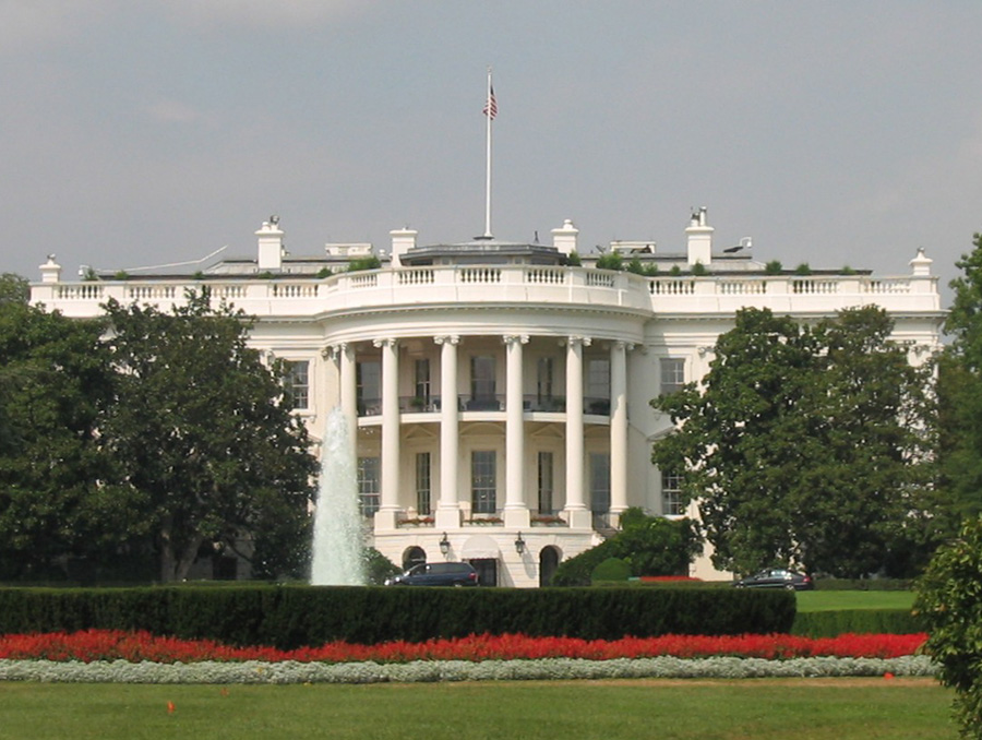 Front view of outside of the White House
