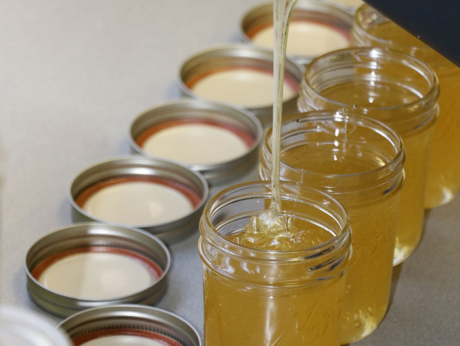 filling jars of honey
