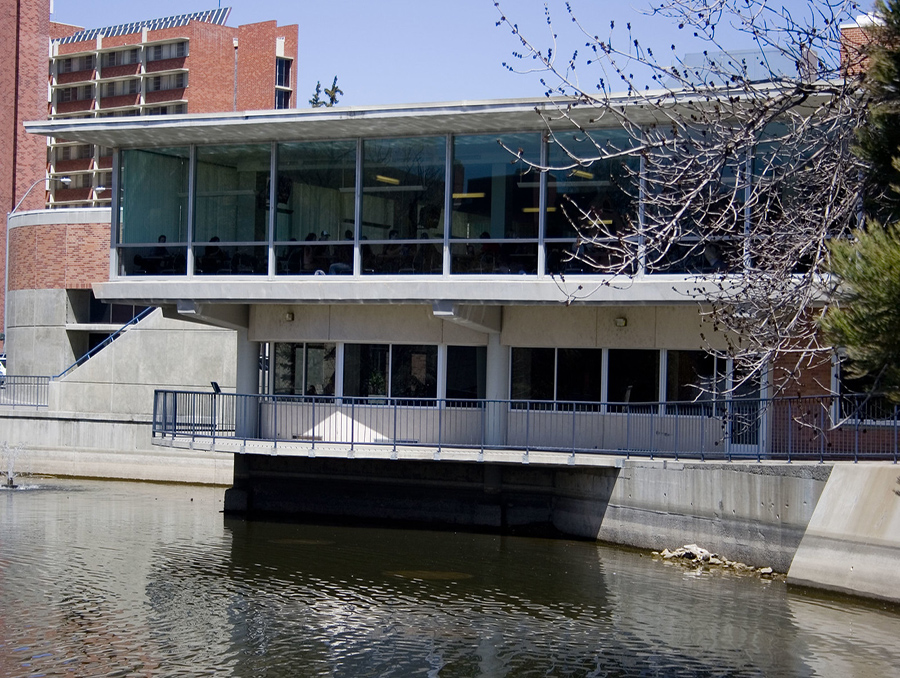 The Jot Travis Building in front of Manzanita Lake on the University of Nevada, Reno campus