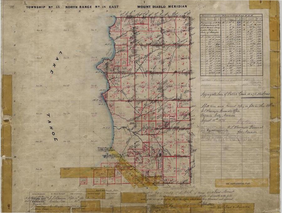 An image of a map including part of the shore of Lake Tahoe. The map features plat delineations and numerous handwritten annotations.