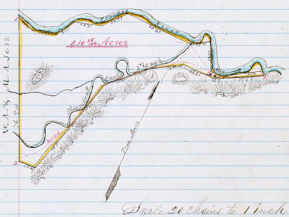 "A hand-drawn plat of survey that includes the Truckee River, which appears on page 112 of ""Liens and Miscellaneous Book A, Part 1."""