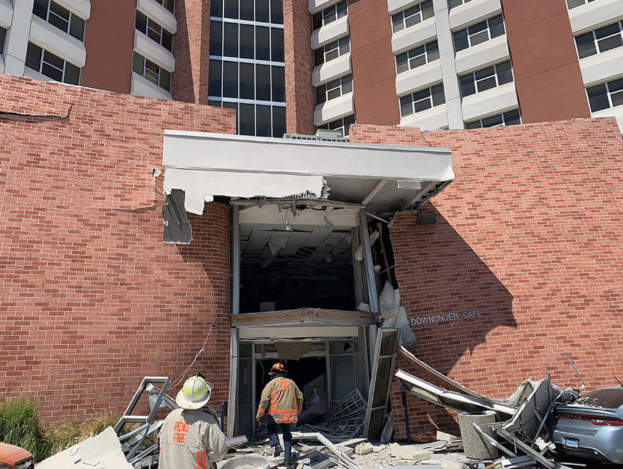 Argenta Hall by the Down Under after the July 5, 2019 explosion