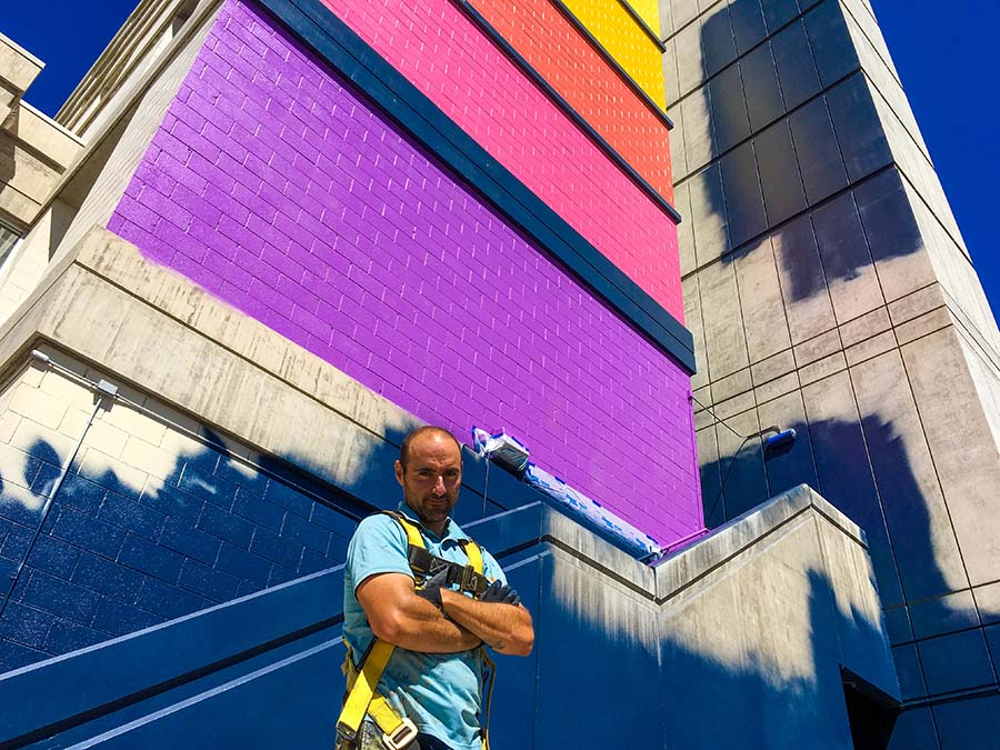 University of Nevada, Reno alumnus Rafael Blanco came to the United States from Spain and currently resides outside of Chicago. He completed his Master of Fine Arts degree at the University in 2013 and has recently begun work on one of two murals on the University campus to highlight and underscore diversity.