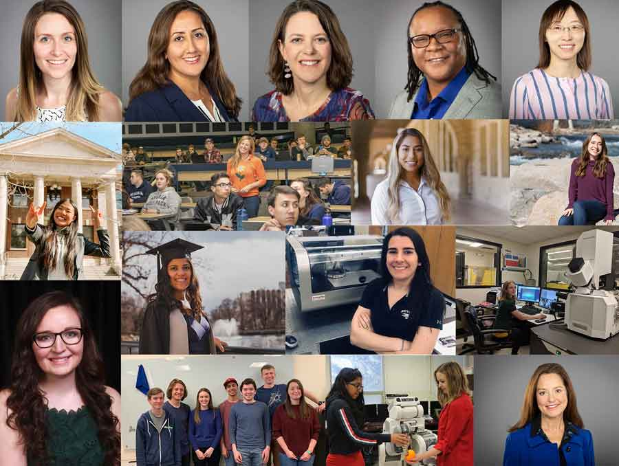 A collage of photos of Emily Hand, Maryam Raeeszadeh-Sarmazdeh, Keri Ryan, Kelly Cross, Feifei Fan, Steffany Yang, Ann-Marie Vollstedt, Valeria Nava, Lauren Mazurowski, Megan Higley, Michelle Falcon Mujica, Rebecca Histed, Cayla Harvey, Emily Hand and her research team, Eloisa Burton and Janelle Blankenburg, and Carolyn Barbash.