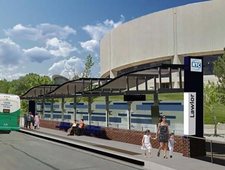 Rending of new RTC transit station near Lawlor Events Center