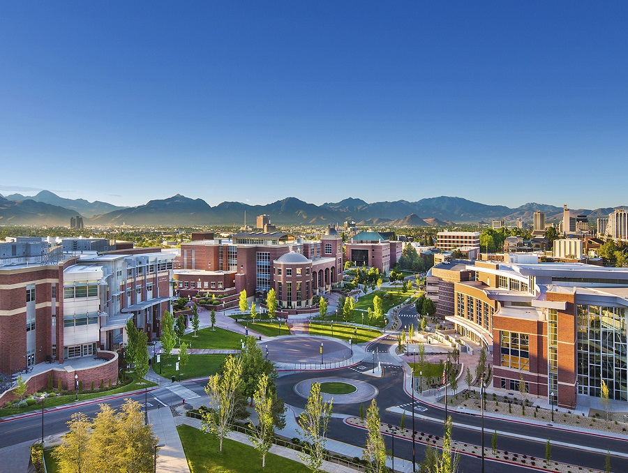 A view of campus looking south from the top of Lawlor Events Center