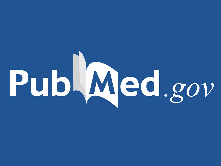 PubMed.gov logo in white with a blue background