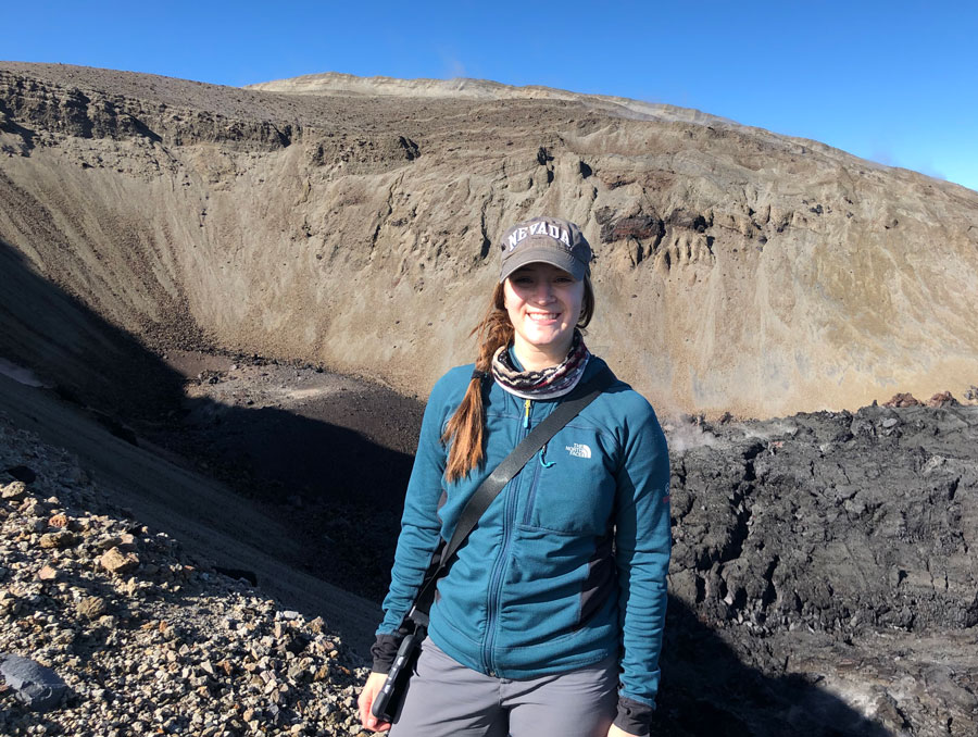 Heather Winslow standing on the crater wall.
