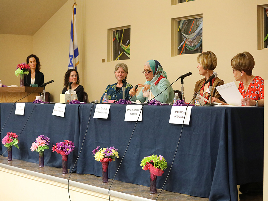 The panel of women pictured left to right: Erin Stiles, Rabbi Sara Zober, Terri Domitrovich, Dina A. Elshabrawy, Reverend Shelley Fisher, Patricia Meidell