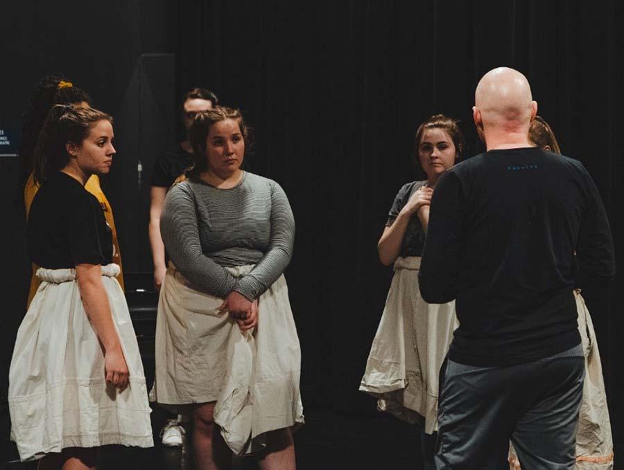Spring Awakening Choreography Rehearsal (left to right) Julia Parks, Abby Rosen, Adelynn Tourondel and Nate Hodges.