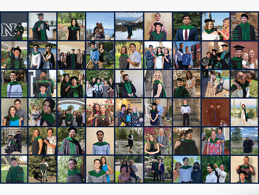A collage of photos of UNR Med's Class of 2020 graduates being hooded.