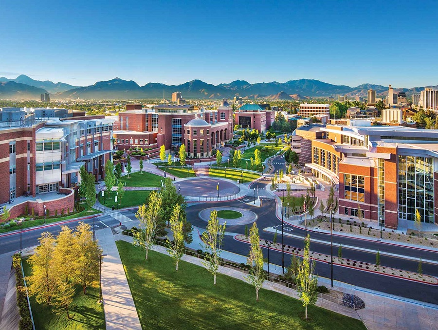 The University of Nevada, Reno campus looking south from Lawlor Events Center
