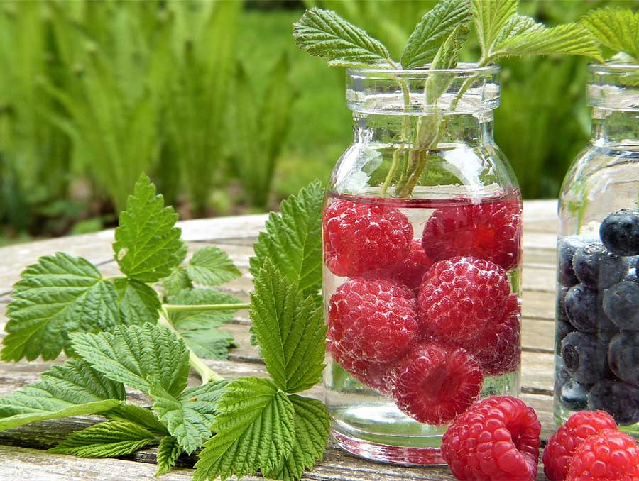 Two glasses of water on a wood table next to a green garnish, one glass with red raspberries and one with blueberries.