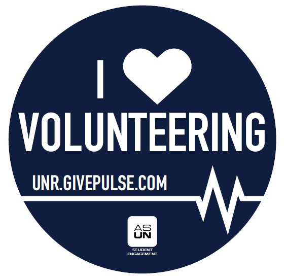 "Logo for student volunteering: blue circle with ""I heart volunteering"", ""unr.givepulse.com"", a symbol for a heart beat on a heart monitor, and the ASUN logo"
