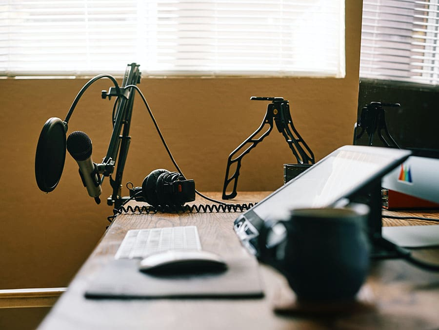 Microphone, headset and other equipment used to make podcasts.