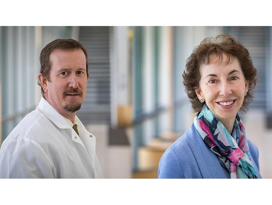A portrait of Nevada State Public Health Laboratory Director Mark Pandori, Ph.D., and Student Health Center Medical Director Cheryl Hug-English, M.D.