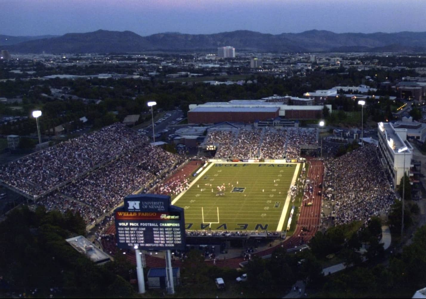 Aerial view of the Mackay Stadium in 2003