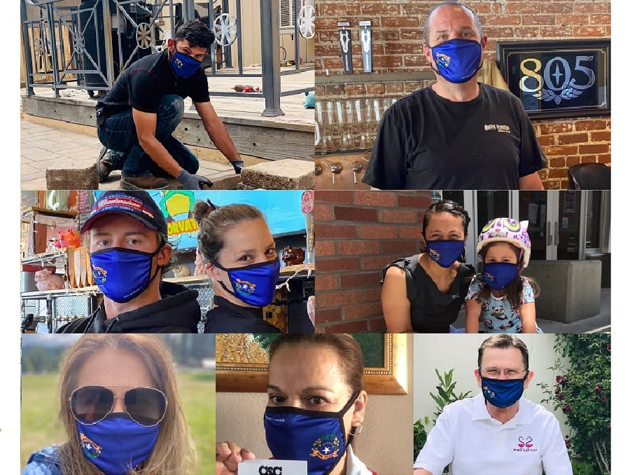 Local small business owners and employees wearing Nevada branded personal protective equipment provided by the Nevada SBDC.