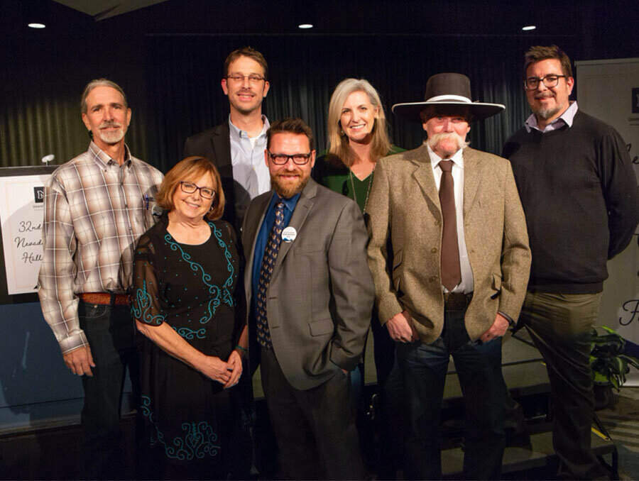 Past Nevada Writers Hall of Fame honorees gather for a group picture (from left, back row, Michael Branch, Lindsay Wilson, Alicia Barber, Christopher Coake, from left, front row, Terri Farley, Mark Maynard and Waddie Mitchell)