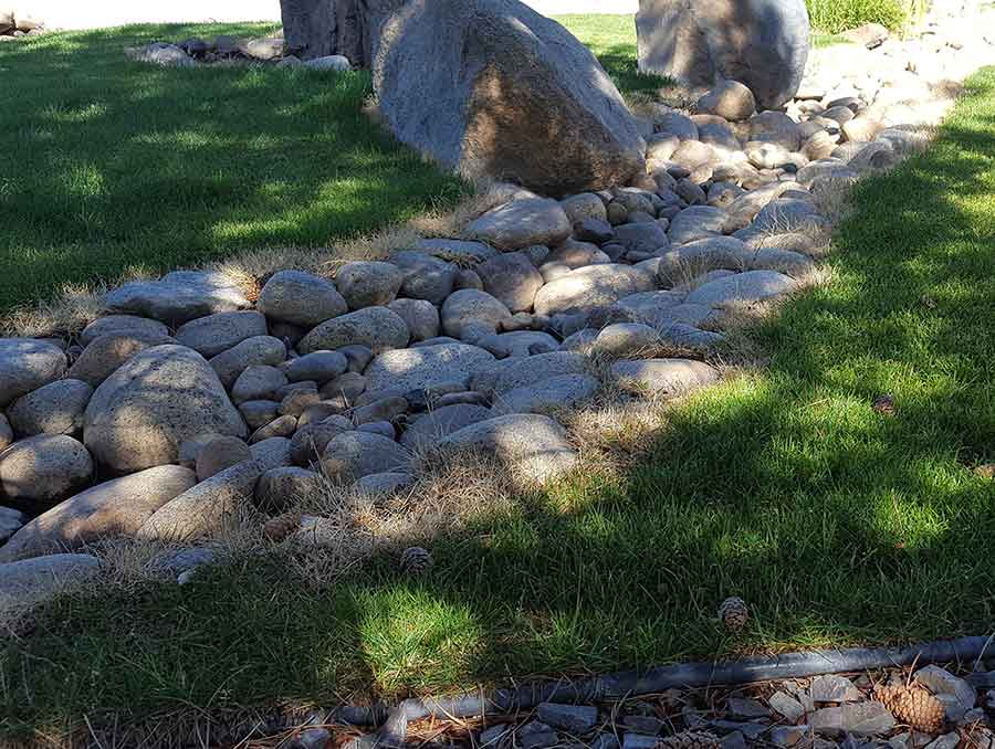 Lawn with dry creekbed