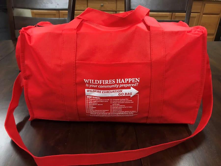 Go bag for evacuation