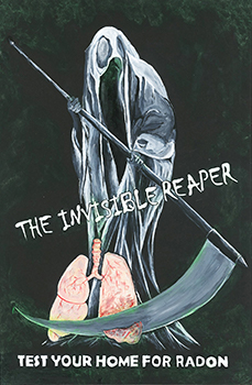 "Drawing of a reaper with the words ""The Invisible Reaper: Test Your Home for Radon"""