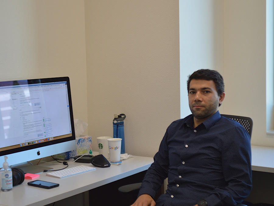 Engin Arslan in his new office in the William Pennington Engineering Building