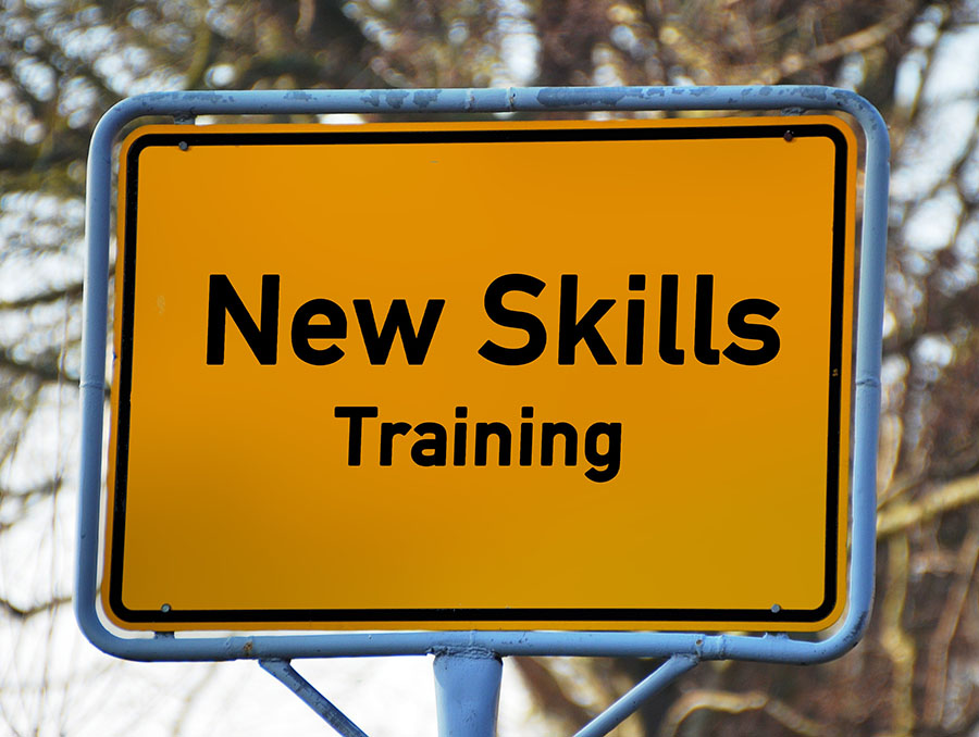 "Yellow road sign with the text, ""New Skills Training"""