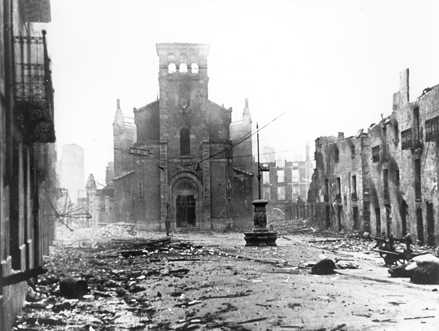 The ruins of Gernika after the 1937 bombing