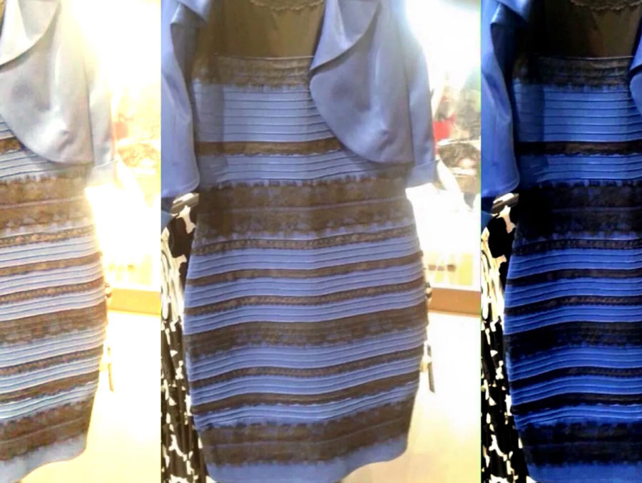 Compilation image of a striped dress that sparked debate on the internet over it's color.