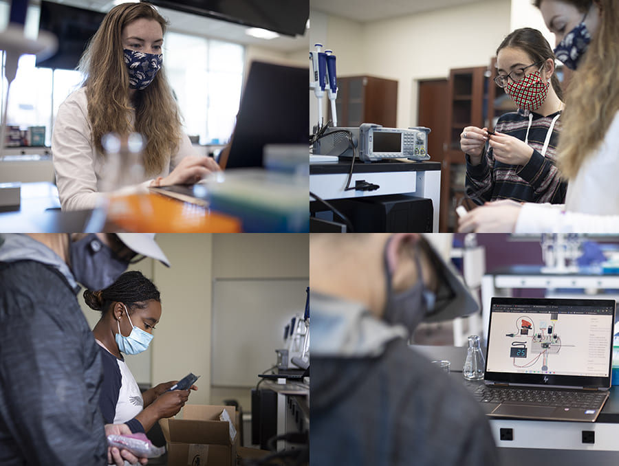 Collection of students working in laboratory.