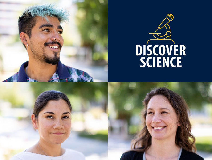 """Photo collage of three portraits and the """"Discover Science"""" podcast logo."""