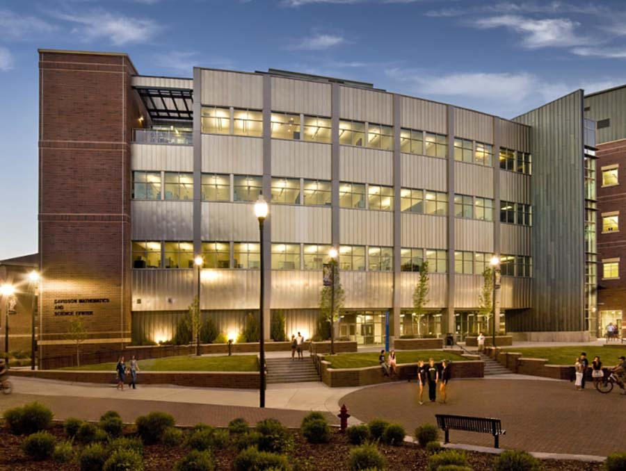 Davidson Math and Science Building on the University of Nevada, Reno campus at dusk.