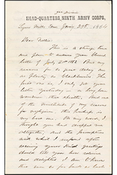 Handwritten script letter from Henry Mighel to Nellie Verrill dated 1864, on Ninth Army Corps letterhead. Sample letter taken from the Henry & Nellie Mighel Correspondence crowdsourced transcription project