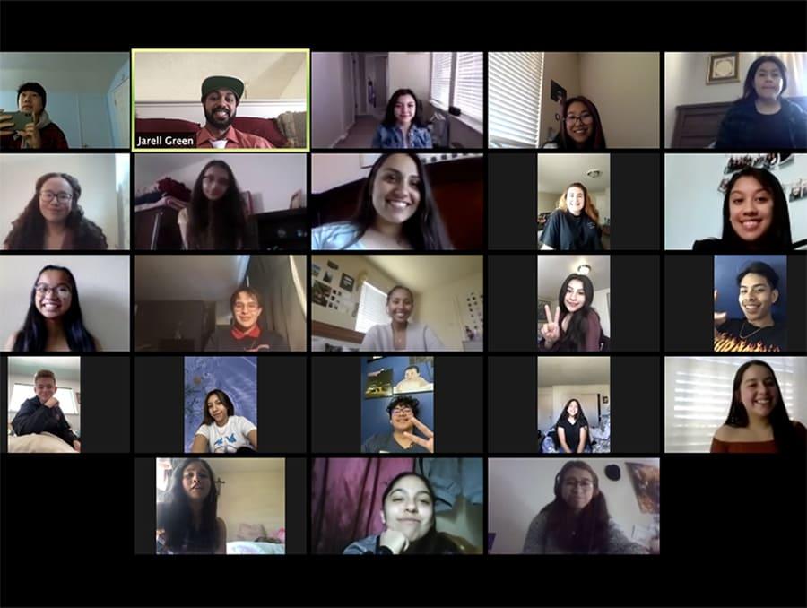 A screenshot from a Zoom Upward Bound Math Science meeting