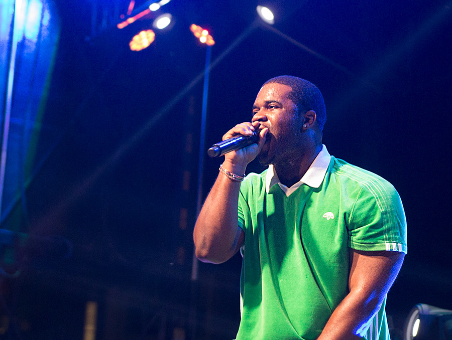 Hip hop performer concert at night