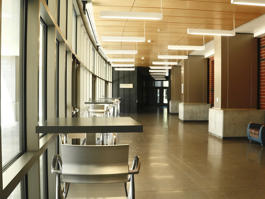 Empty hallway and desks