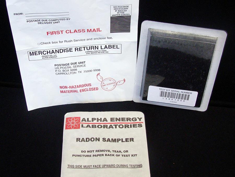 Radon test kit with instructions