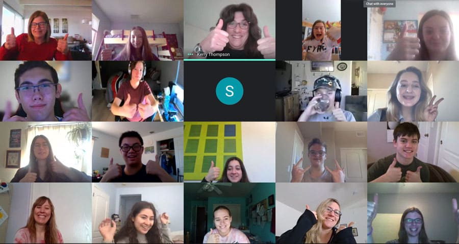 Zoom call screenshot with members of the FYRE Robotics team.