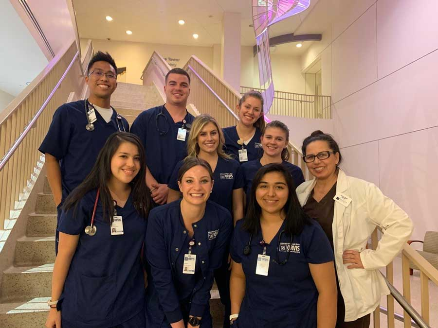 Haley Carroll and fellow nursing students at Renown hospital
