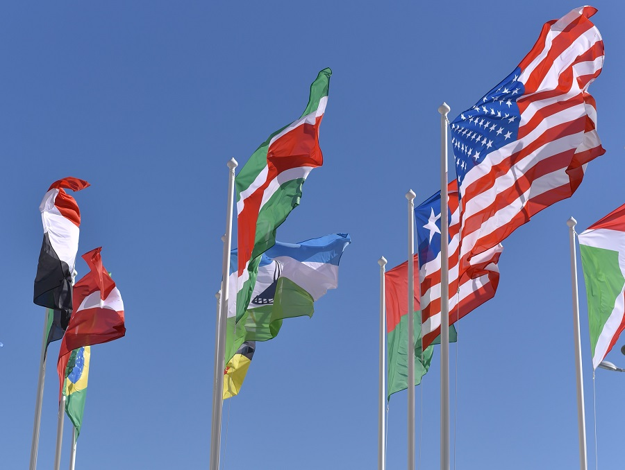 A collection of international flags