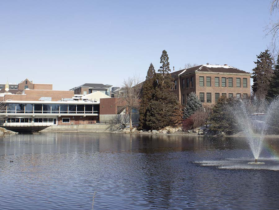 Manzanita Lake with Clark Administration and Jot Travis Buildings in the background on the University of Nevada, Reno campus.