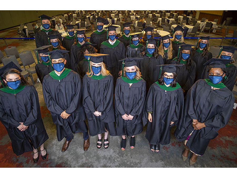 A group photo of the Class of 2021 PA Studies Program graduates.