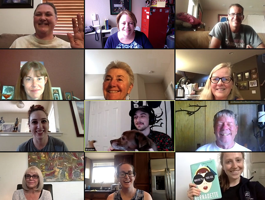 A group photo of an aphasia book club meeting being held on Zoom.