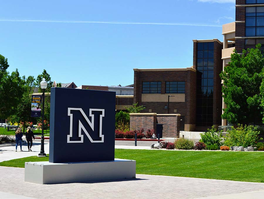 The Block N statue on the University of Nevada, Reno campus.