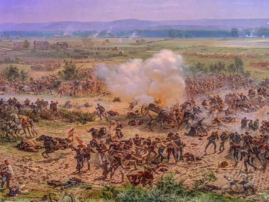 A detailed section of the Battle of Gettysburg Cyclorama