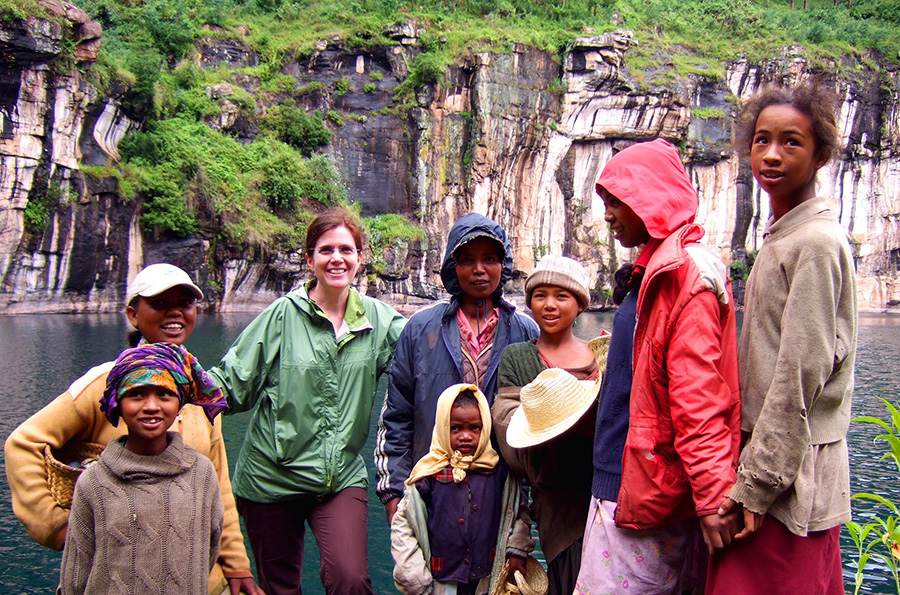 Dr. Ann Weber with young women in Madagascar